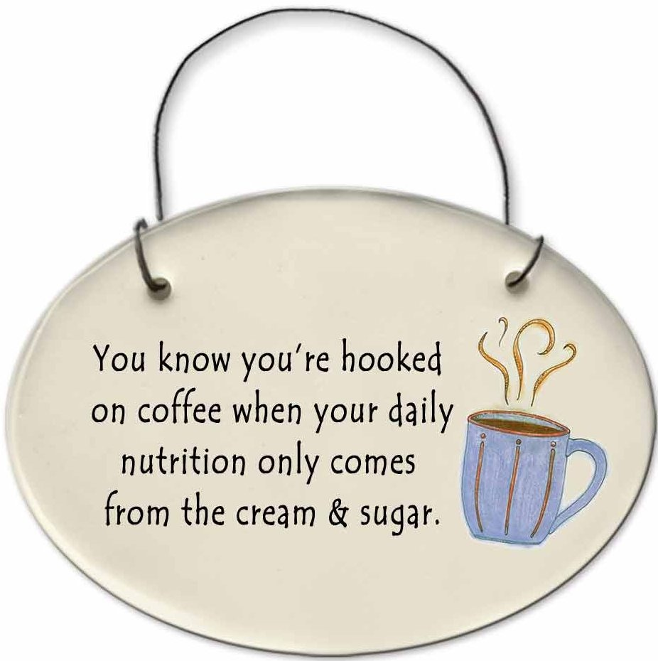 August Ceramics 2123B Coffee cup You know You're hooked cream & sugar Mini Disk