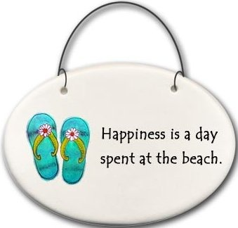 August Ceramics 2125B Flip flops Happiness is A Day spent at the beach Mini Disk