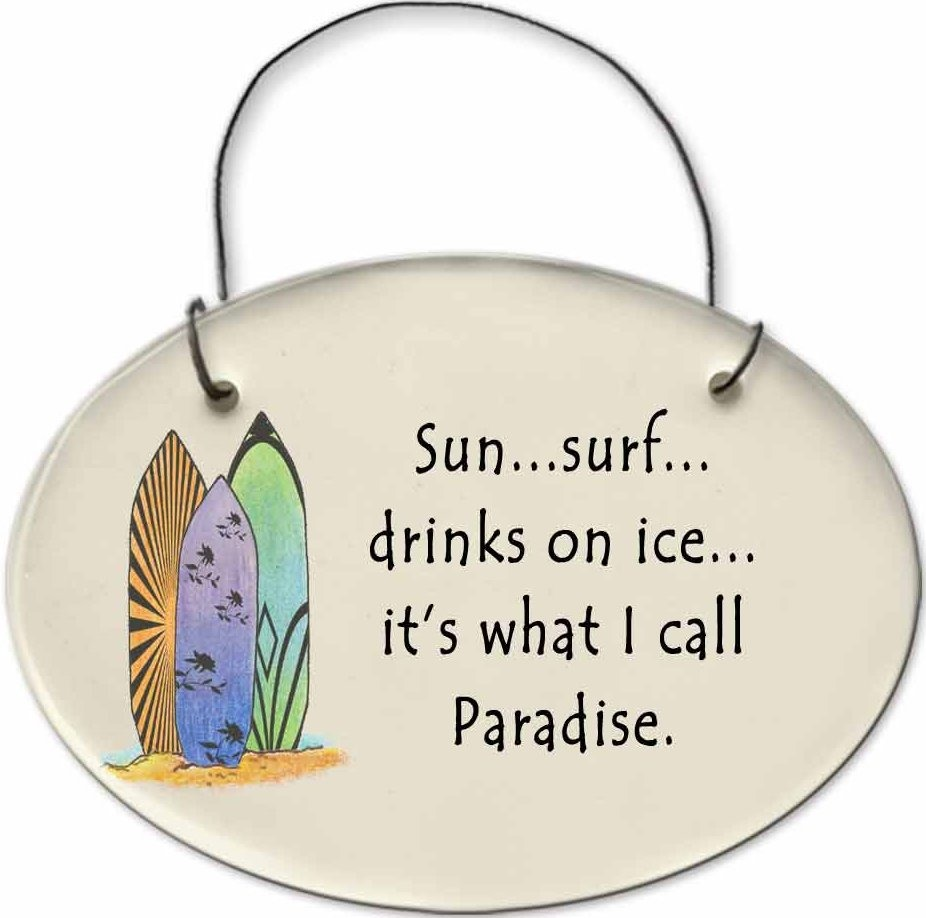 August Ceramics 2127A Surfbords Sun Surf Drinks on ice paradise Mini Disk