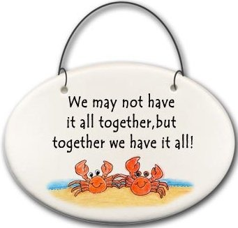 August Ceramics 2128B Crab couple We may not have it all together Mini Disk