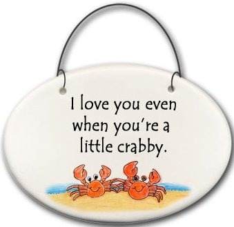 August Ceramics 2128C Crab couple I love you even when You're a little crabby Mini Disk