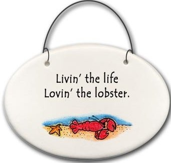 August Ceramics 2129C Lobster in Sea Livin' the life Lovin' the lobster Mini Disk
