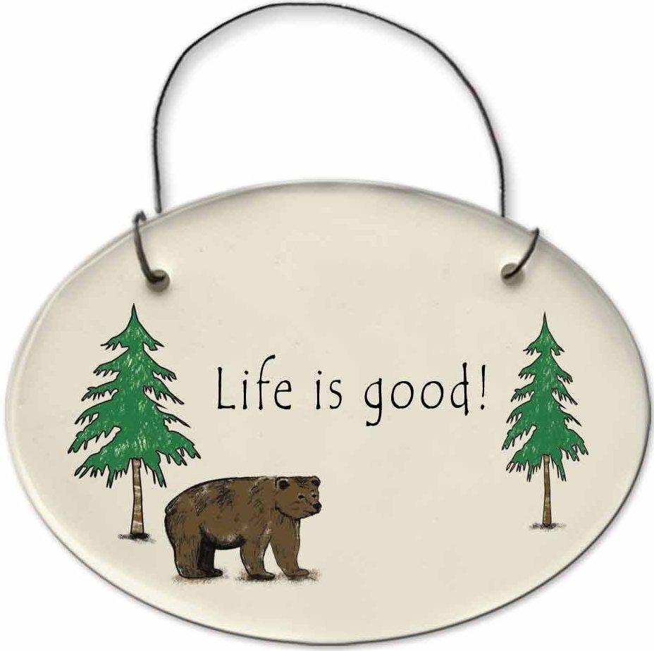 August Ceramics 2155A Bear - Life is good Mini Disk