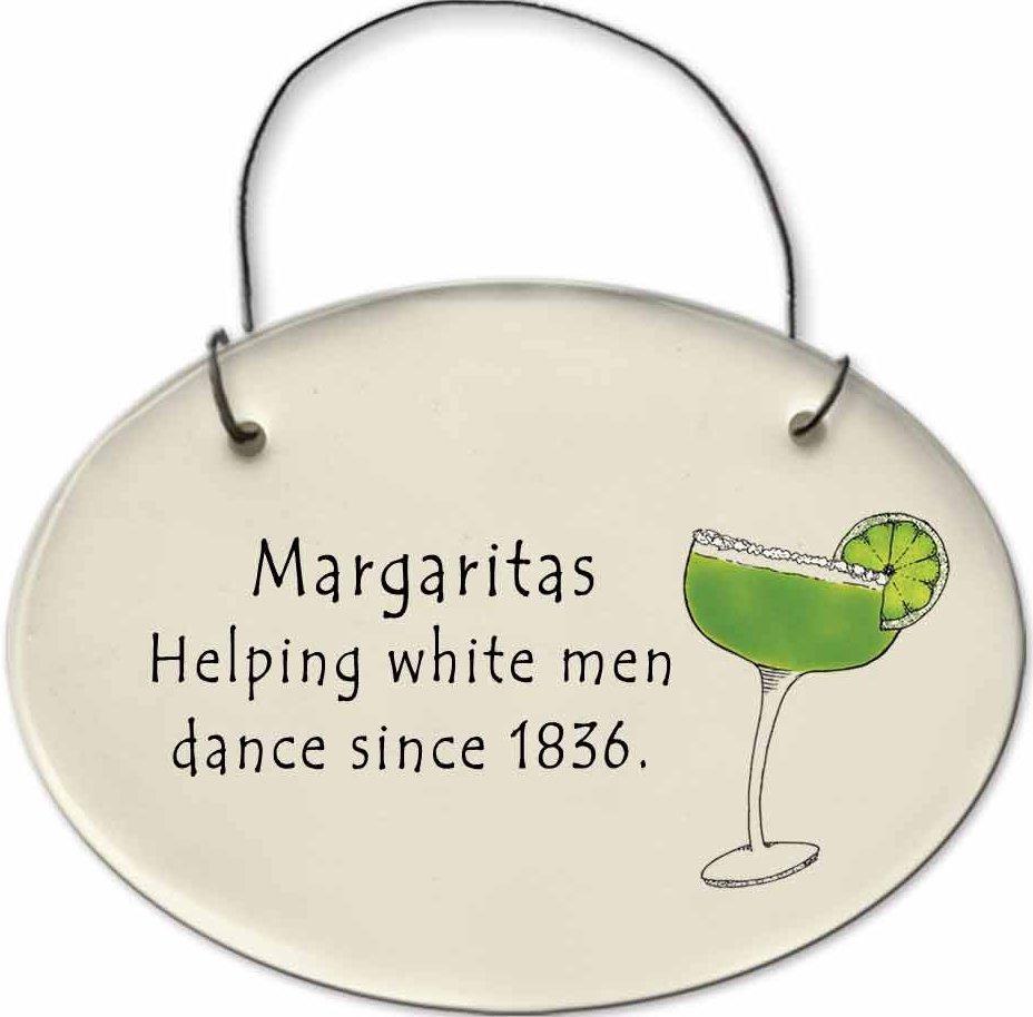 August Ceramics 2156E Margarita glass - Margaritas Helping white men dance Mini Disk