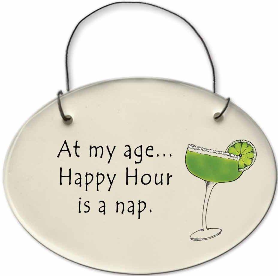 August Ceramics 2156F Margarita glass - At my age happy hour Mini Disk