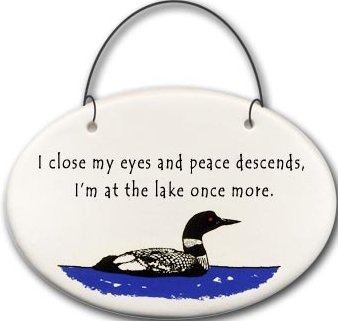 August Ceramics 2157A Loon I close my eyes and peace descends lake Mini Disk