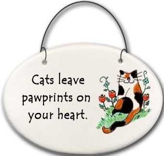 August Ceramics 2159E Cat Cats leave pawprints on your heart Mini Disk