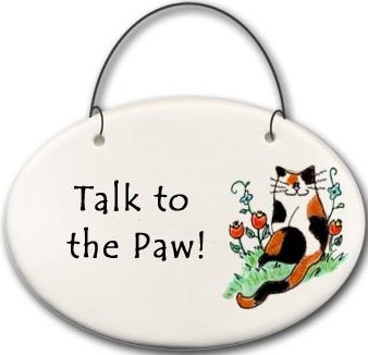 August Ceramics 2159O Cat Talk to the paw Mini Disk
