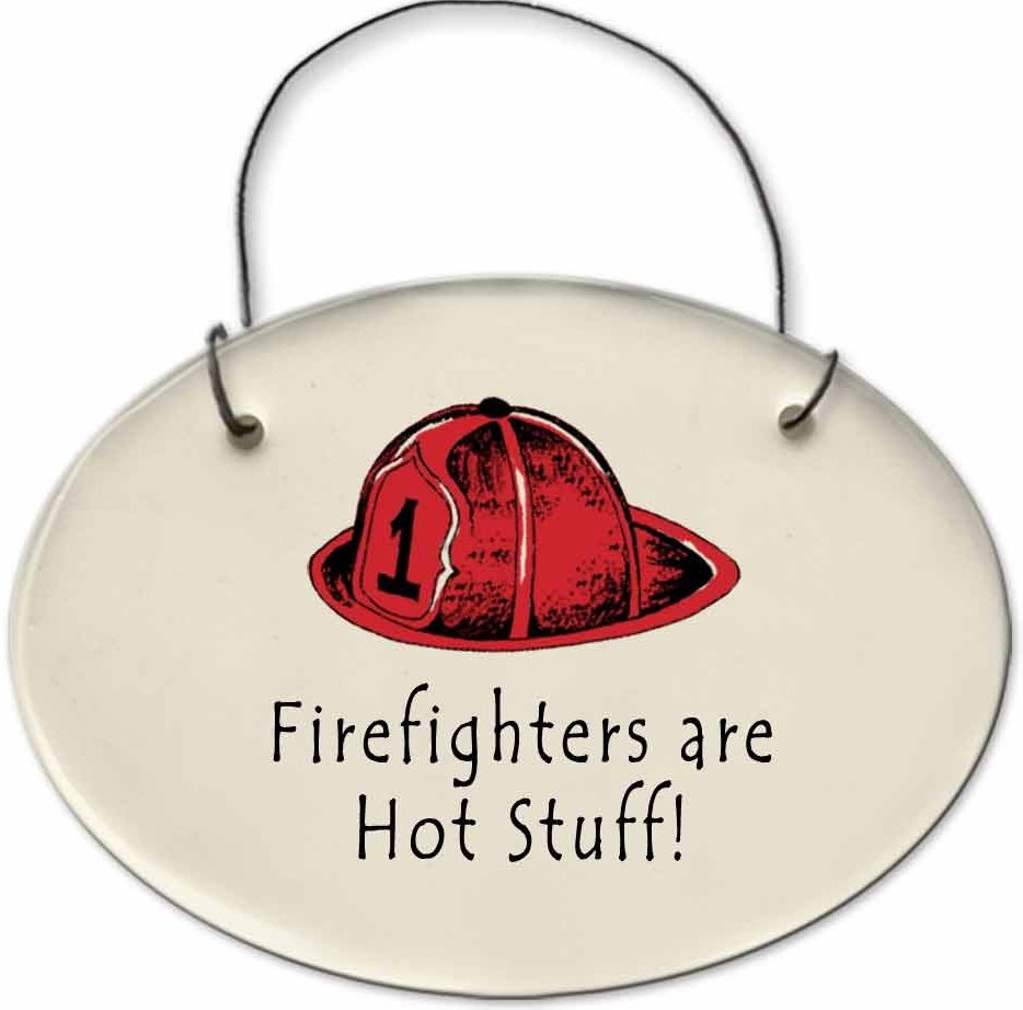 August Ceramics 2171A Fireman hat Fire fighters are hot stuff Mini Disk