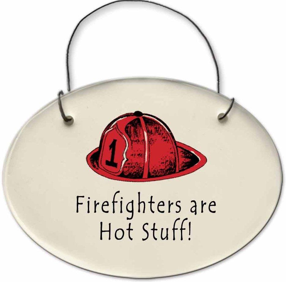 August Ceramics 2171A Fireman hat Fire fighters are hot stuff Mini Disk