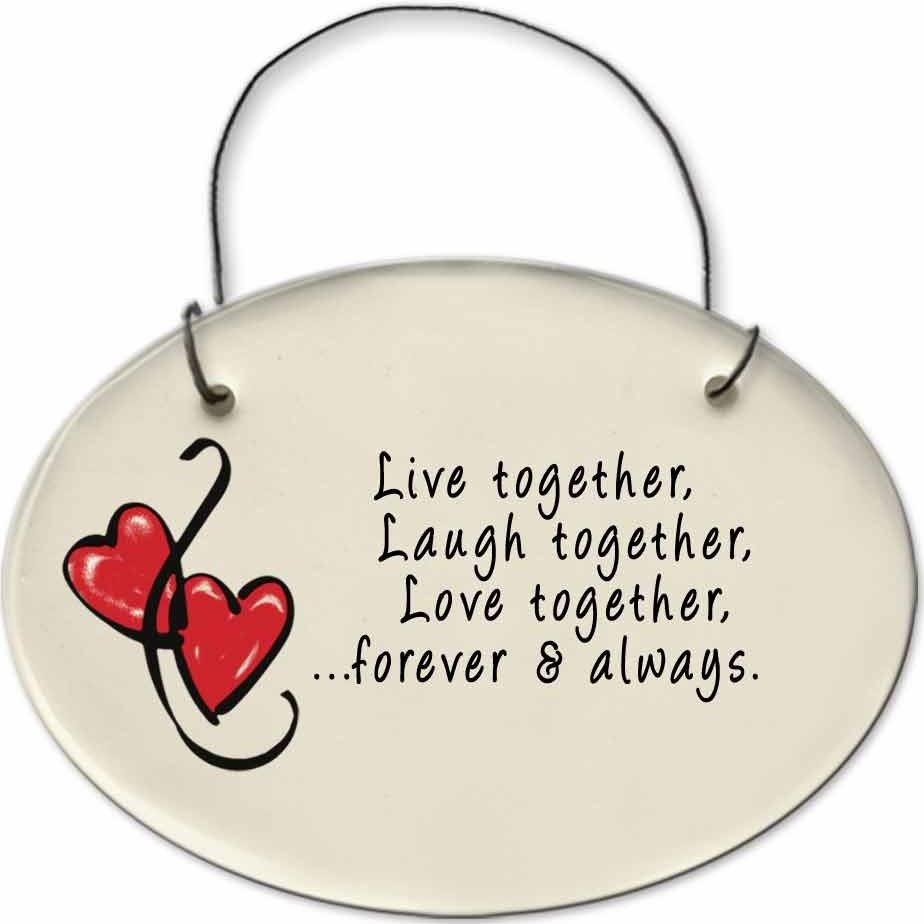 August Ceramics 2175A Hearts Live together laugh together Mini Disk