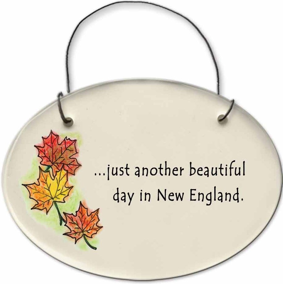 August Ceramics 2180B Autumn leaves Just another beautiful day in New England Mini Disk