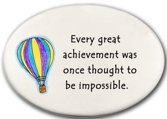 August Ceramics 3119A Hot air balloon Every great achievement Disk Magnet