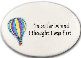 August Ceramics 3119B Hot air balloon I'm so far behind Disk Magnet