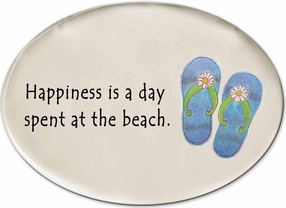August Ceramics 3125B Flip Flops Happiness is A Day spent at the beach Disk Magnet
