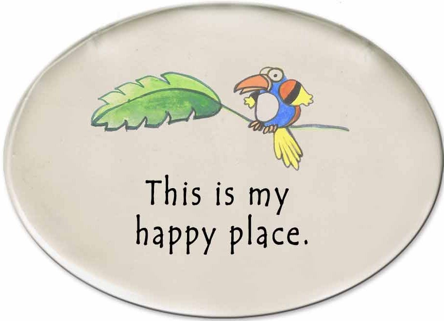 August Ceramics 3126A Toucan This is my happy place Disk Magnet