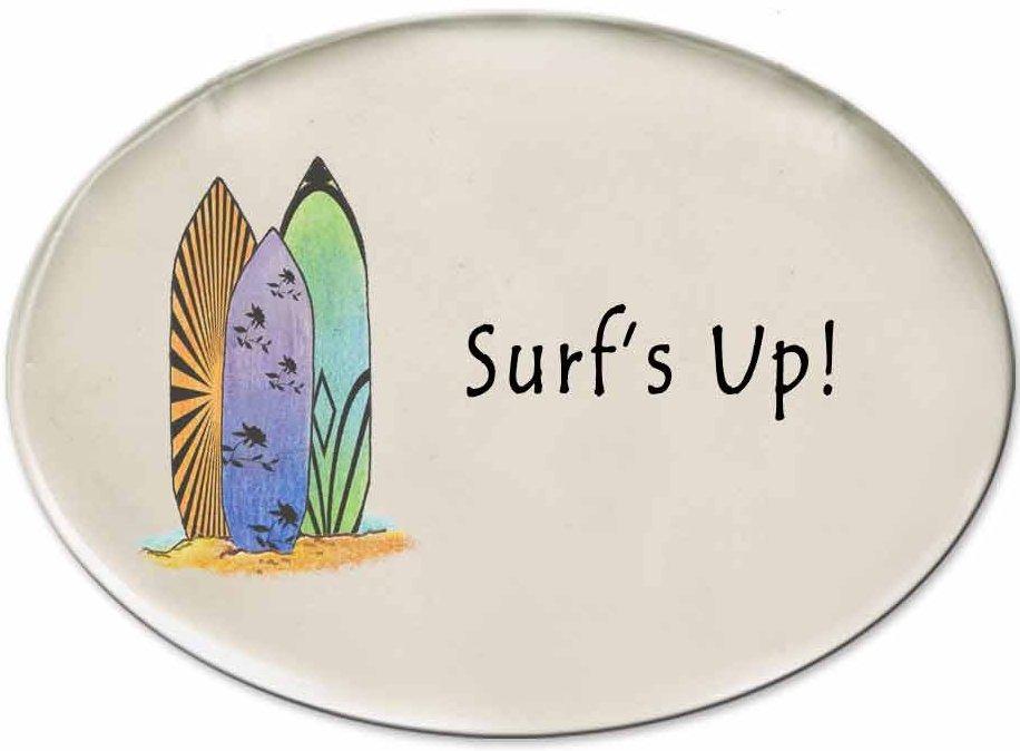 August Ceramics 3127C Surfboard Surf's Up Disk Magnet