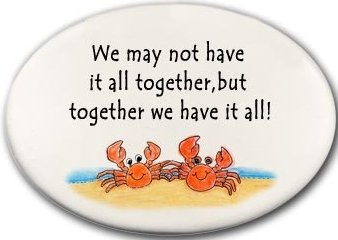 August Ceramics 3128B Crab couple We may not have it all together Disk Magnet