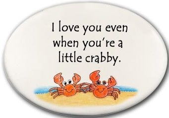 August Ceramics 3128C Crab couple I love you even when Disk Magnet