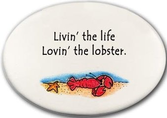 August Ceramics 3129C Lobster in sea Livin the life lovin the lobster Disk Magnet
