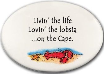 August Ceramics 3129D Lobster in sea Livin the life on The Cape Disk Magnet