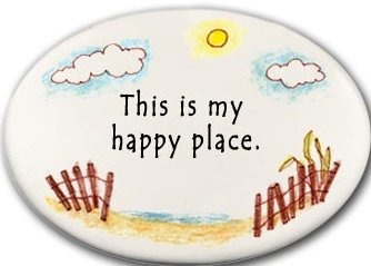 August Ceramics 3130D Beach fence - This is my happy place Disk Magnet