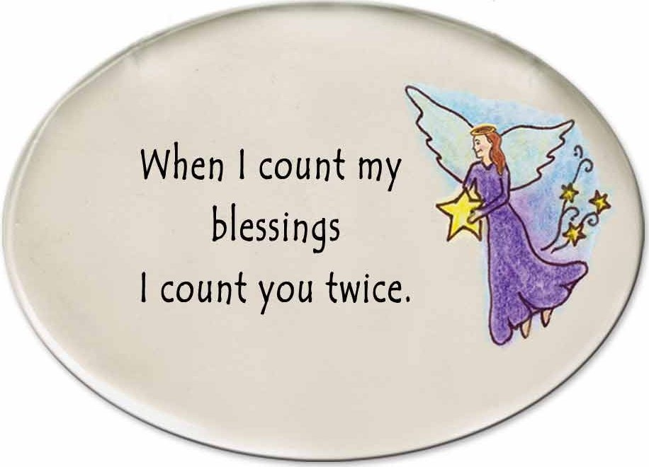 August Ceramics 3140A Angel with star When I count my blessings Disk Magnet