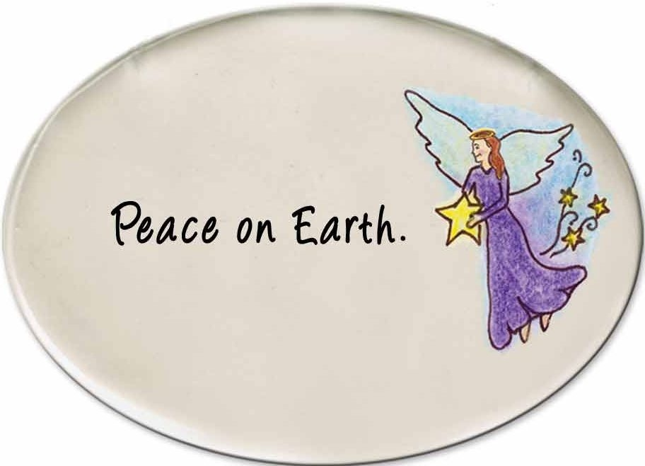 August Ceramics 3140C Angel with star Peace on Earth Disk Magnet