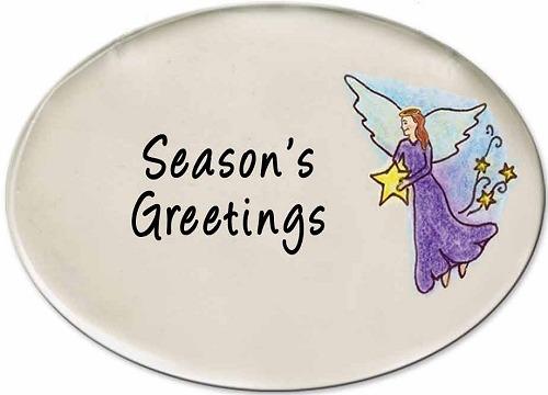 August Ceramics 3140D Angel with star Seasons Greetings Disk Magnet