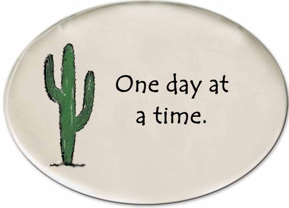 August Ceramics 3153B Cactus - One day at a time Disk Magnet