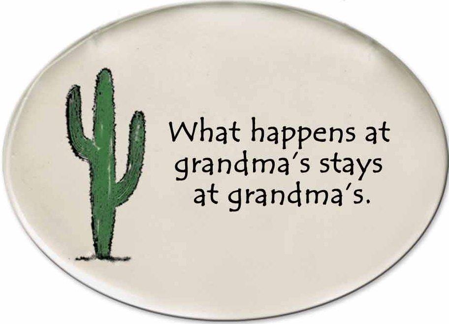 August Ceramics 3153C Cactus - What happens at Grandma's Disk Magnet