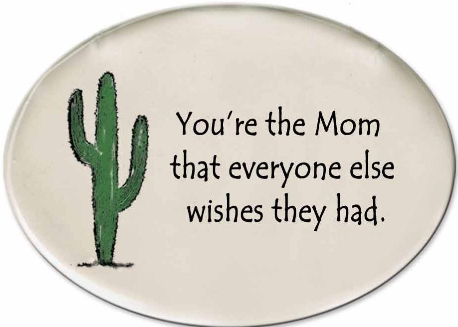 August Ceramics 3153D Cactus - You're the Mom Disk Magnet