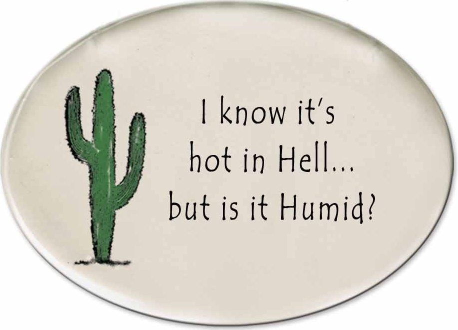 August Ceramics 3153E Cactus - I know it's hot in Hell Disk Magnet