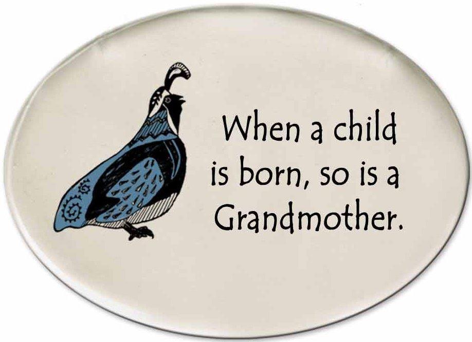 August Ceramics 3154C Quail - When a child is bOrnament Grandma Disk Magnet