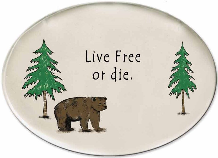 August Ceramics 3155B Bear - Live free or die Disk Magnet