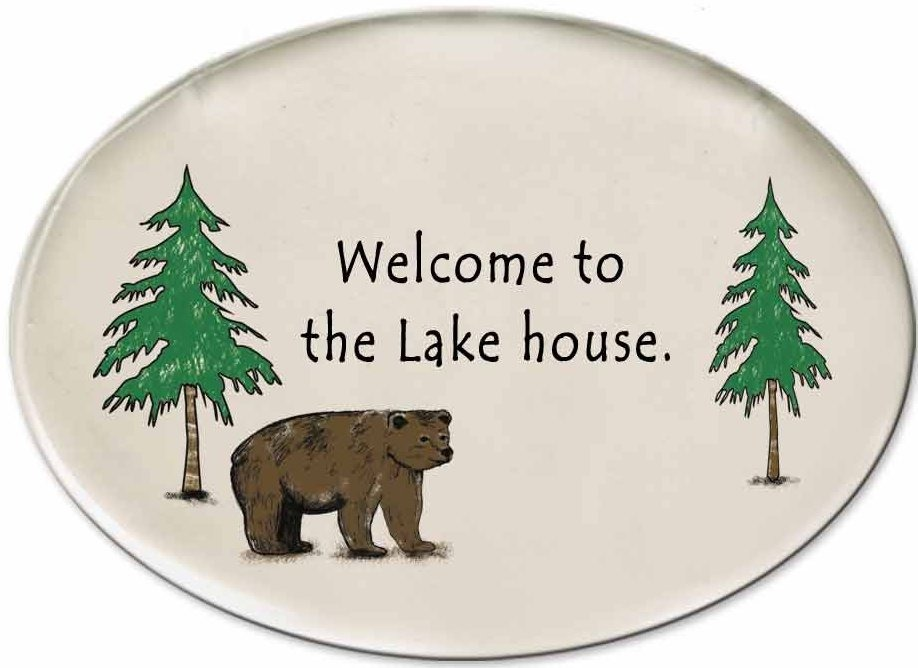 August Ceramics 3155C Bear - Welcome to the lake house Disk Magnet