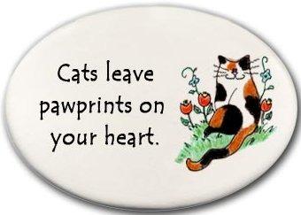 August Ceramics 3159E Cat Cat's leave pawprints on your heart Mini Disk