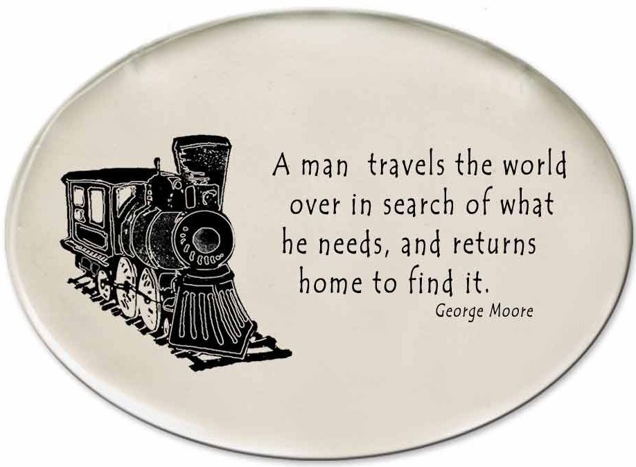 August Ceramics 3170C Train A man travels the world over Disk Magnet