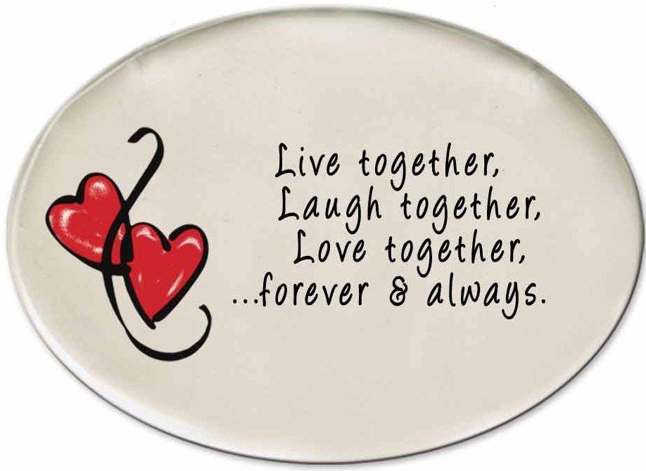 August Ceramics 3175A Hearts Live together Laugh together Disk Magnet