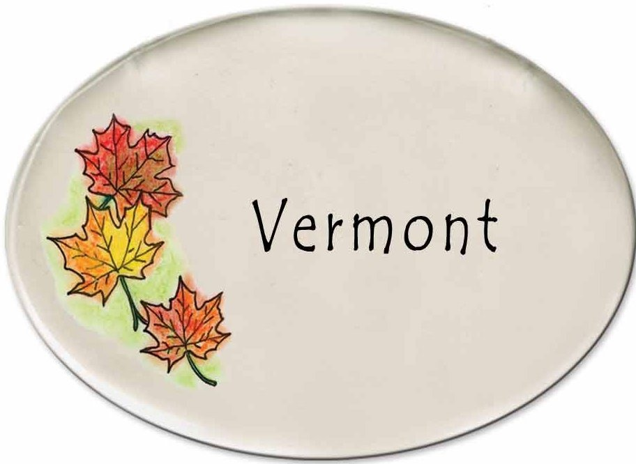 August Ceramics 3180F Autumn leaves VERMONT Disk Magnet