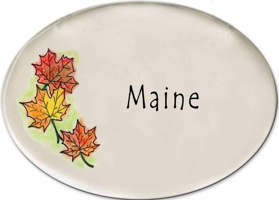 August Ceramics 3180G Autumn leaves MAINE Disk Magnet