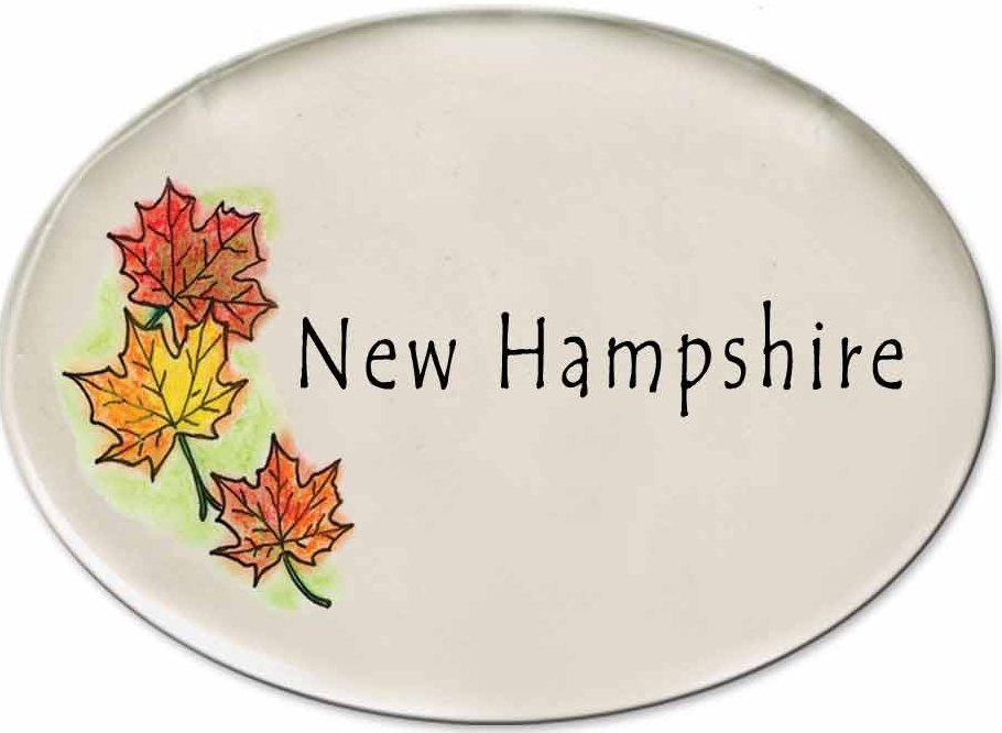 August Ceramics 3180H Autumn leaves New Hampshire Disk Magnet