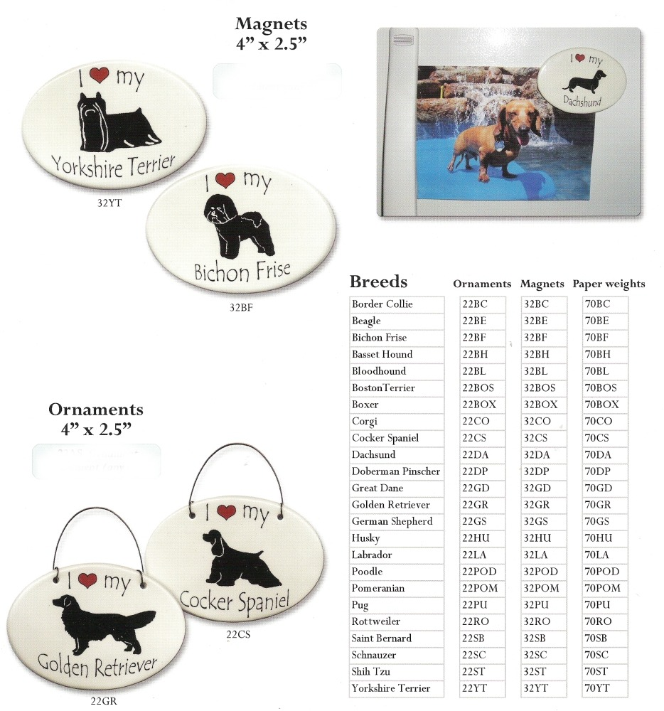 August Ceramics 32GS German Shepherd Magnet Ceramic Made in the USA $8.99