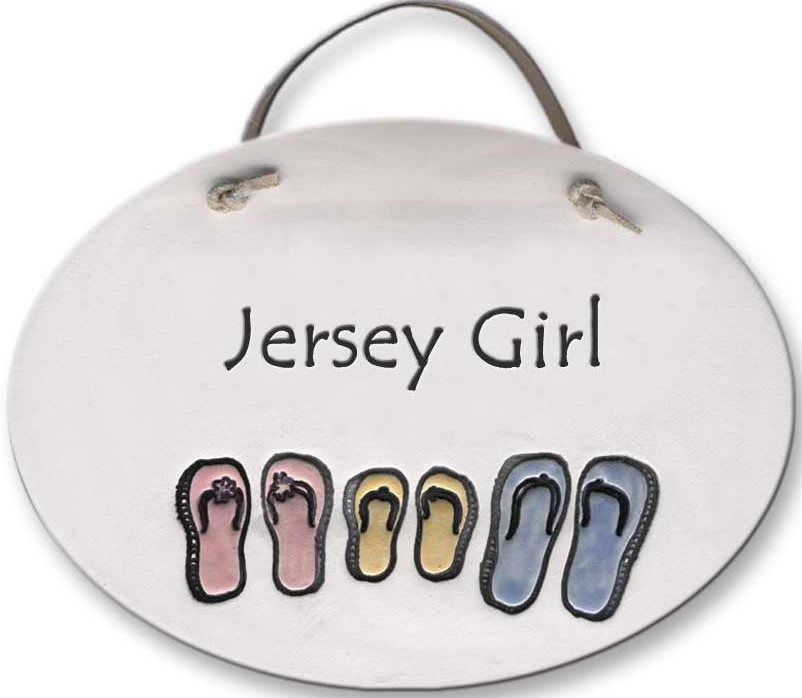 August Ceramics 4087J Sandals Jersey Girl Oval Plaque