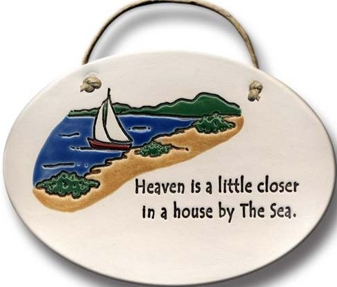 August Ceramics 4088E Ship scene - Heaven is a little closer in a home by the water Oval Plaque