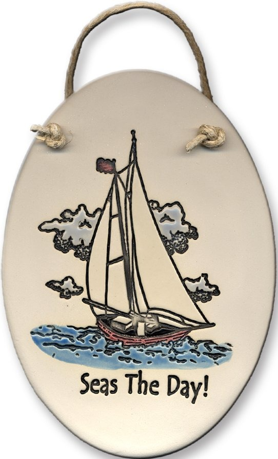 August Ceramics 4094A Sailboat Seas the day Oval Plaque