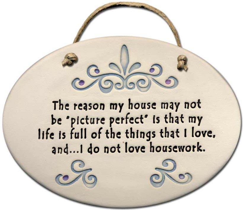 August Ceramics 4098B Scroll The reason that my house is not picture perfect Oval Plaque
