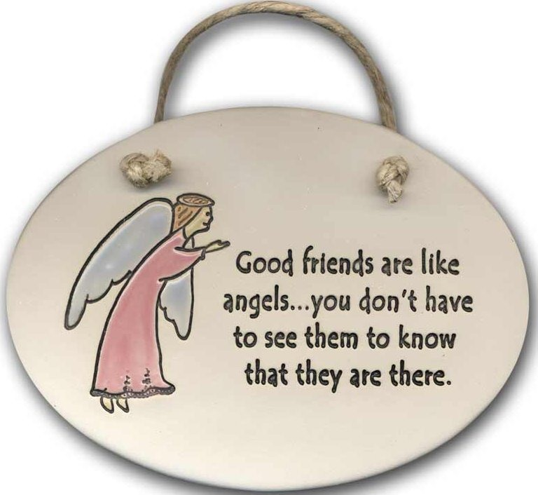 August Ceramics 4106A Angel Good friends are like angels Oval Plaque