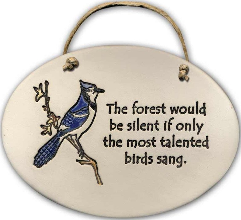 August Ceramics 4152A Blue Jay The forest would be silent Oval Plaque