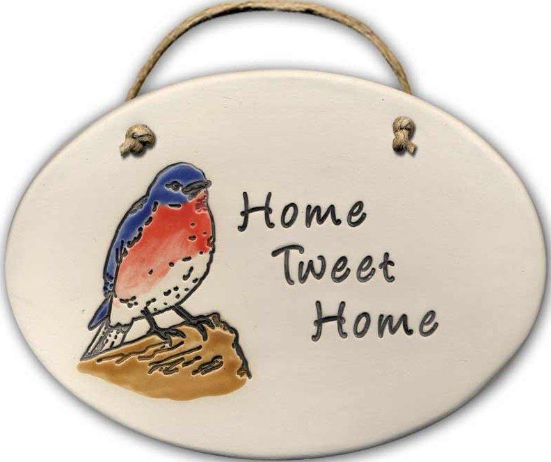 August Ceramics 4153A Blue Bird Home tweet home Oval Plaque